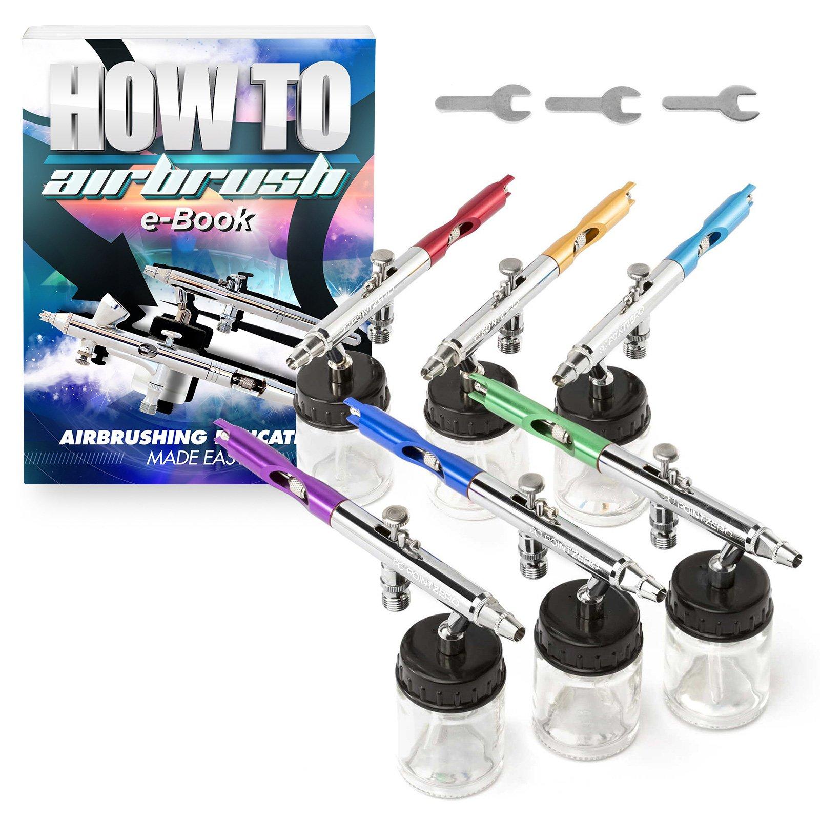 PointZero PointZero PZ-12XS Dual-Action Six Airbrush Set w/Carry Case