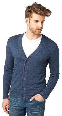 TOM TAILOR für Männer knit Feinstrick-Cardigan black iris blue M