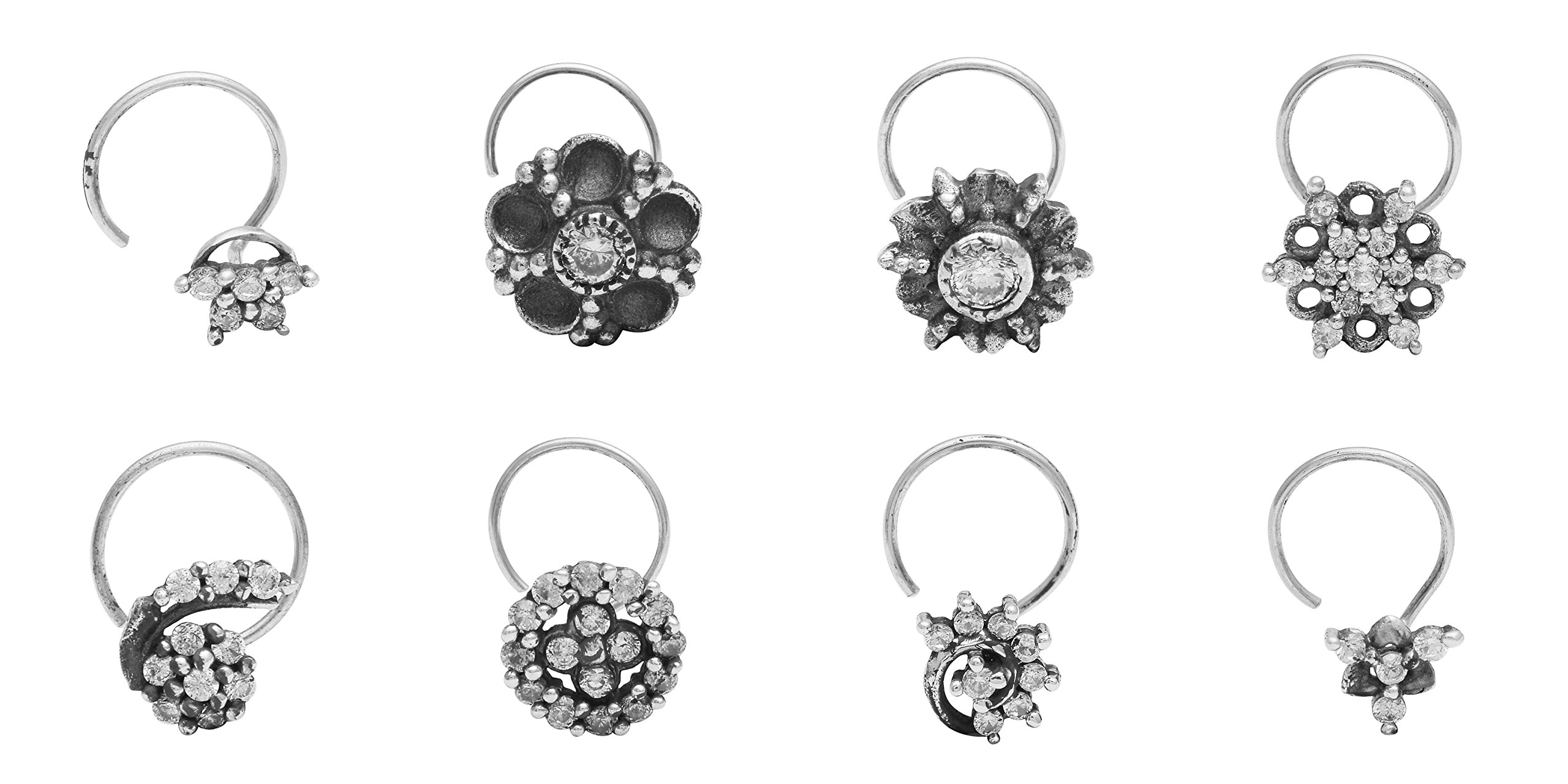 Shine Jewel Set of 8 Oxidized 925 Sterling Silver Nose Pin for Women/Girls Cubic Zirconia CZ