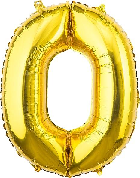 Amazon.com: Cumpleaños de oro/fiesta número globos, 0 – 9 ...