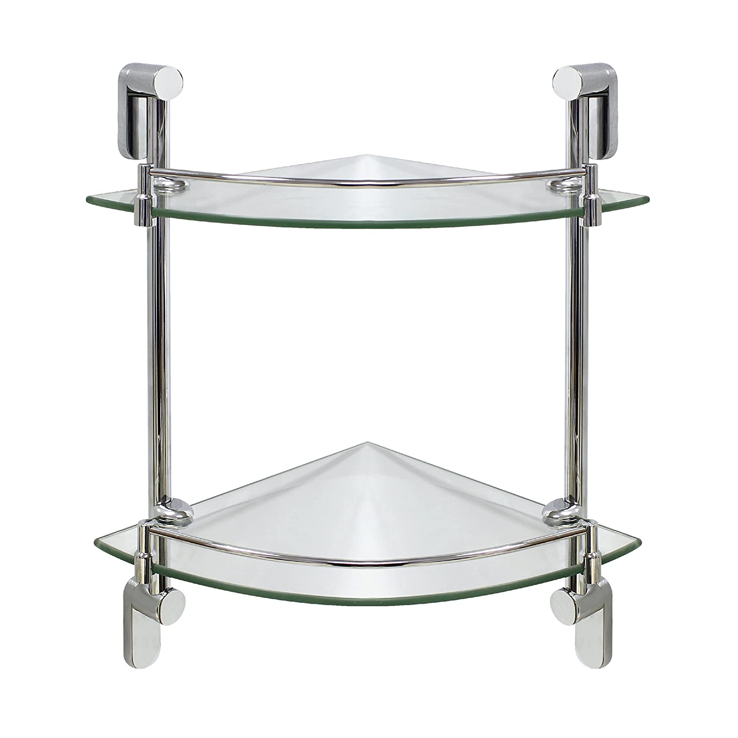 Amazon.com: MODONA Double Corner Glass Shelf With Rail U2013 Polished Chrome U2013  Oval Series   5 Year Warrantee: Home U0026 Kitchen