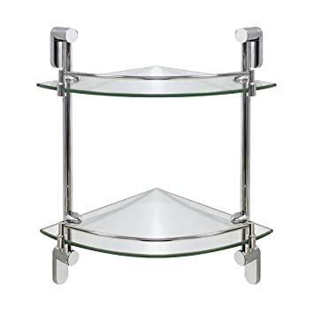 Modona Double Corner Glass Shelf With Rail Polished Chrome Oval Series 5 Year Warrantee