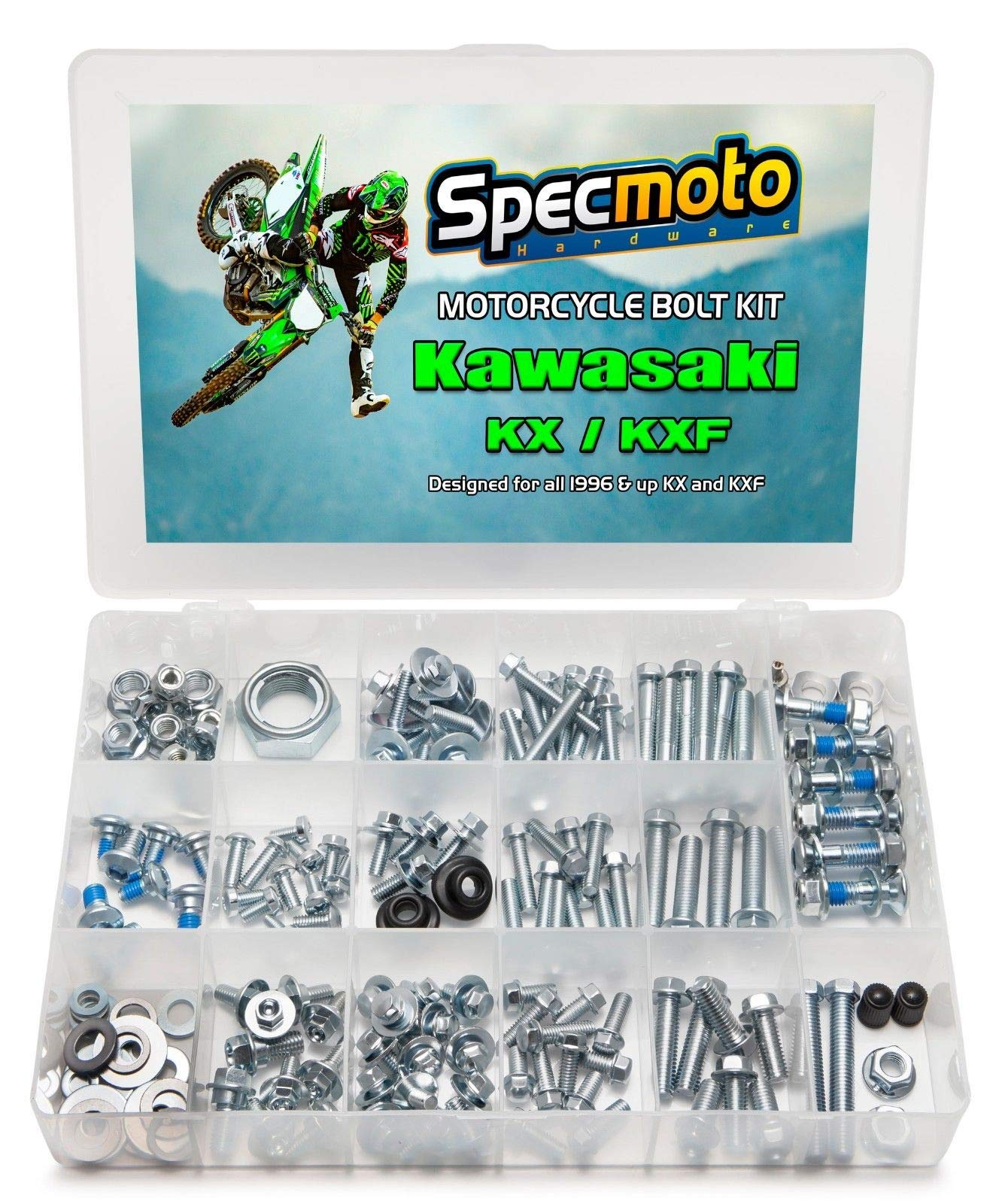 Specmoto Hardware Kawasaki Bolt Kit: KX/KXF Model Series Dirt Bike (1996-present)