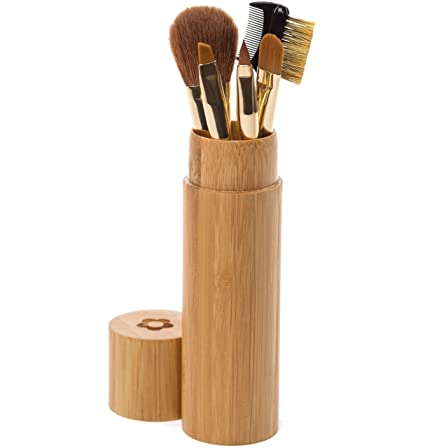 Makeup Brush Set   Beautiful Compact Bamboo Case Perfect For At Home, Purse & Travel With 5 Brushes... by Organic Family Products