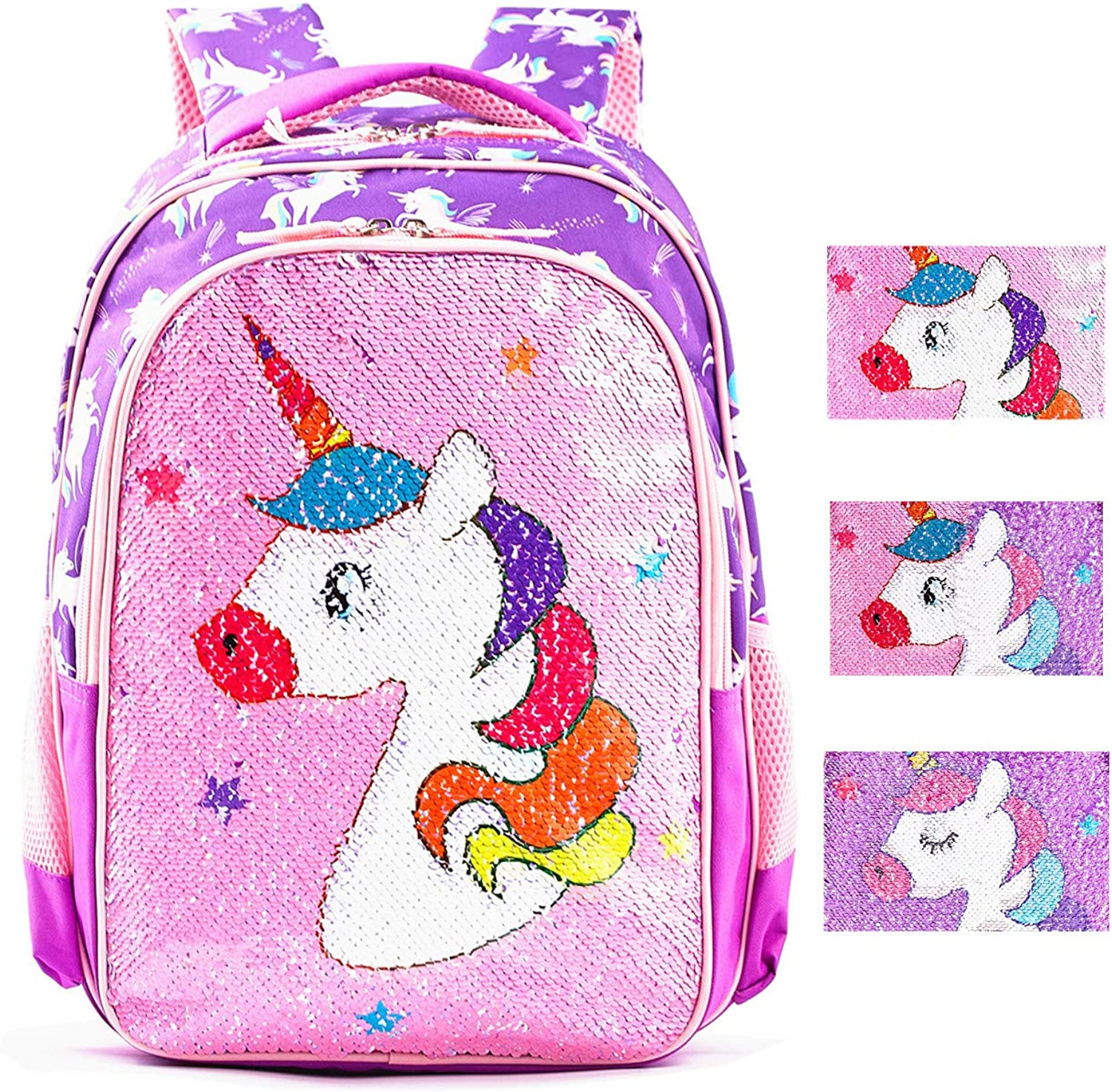Magic Reversible Sequin School Bag, Lightweight Pre-School Backpack for for Kindergarten or Elementary