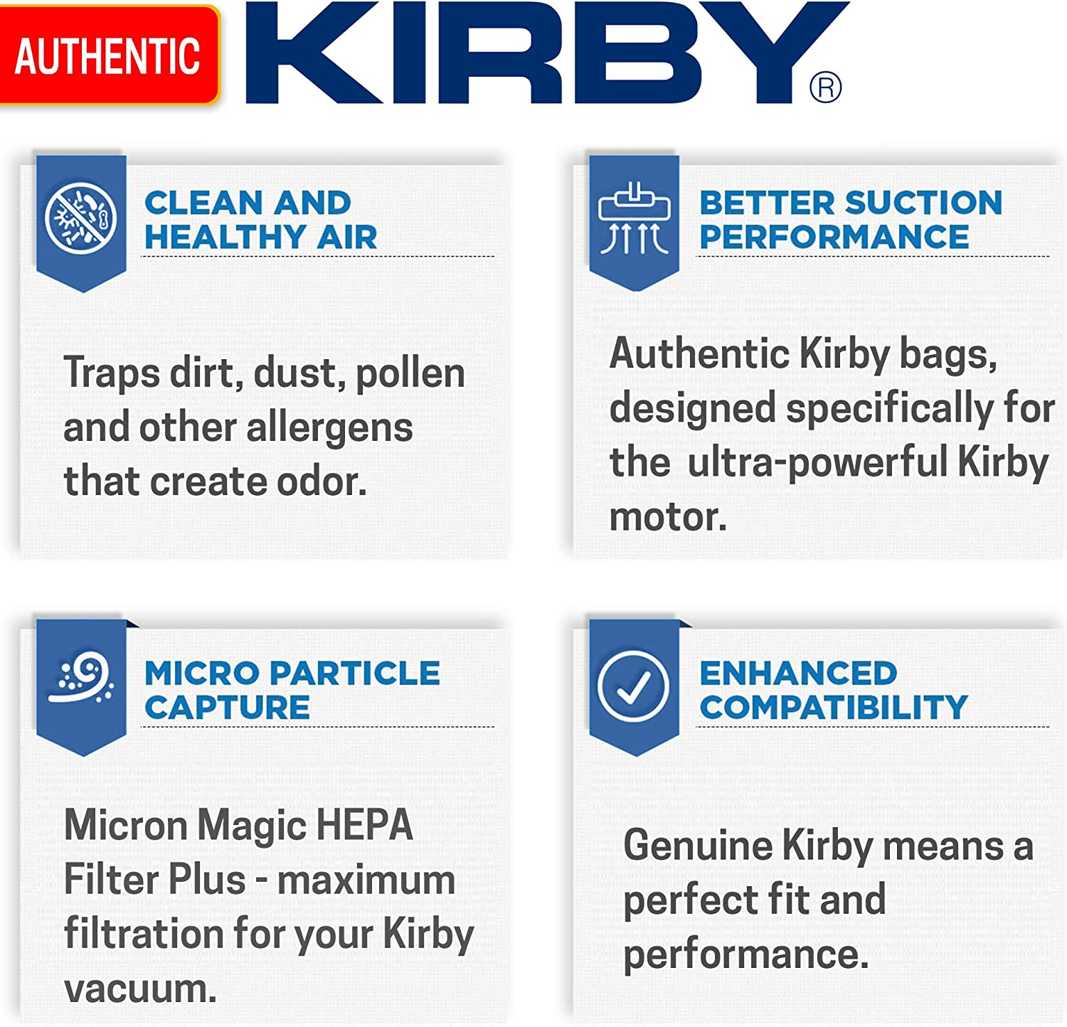 6 Pack Kirby 202916 Odor Fighter Charcoal Filter Bag Disposable Vacuum Bag
