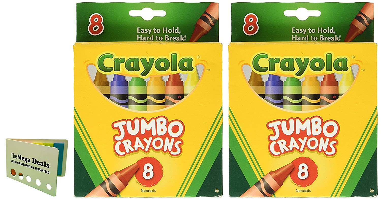 Crayons Jumbo 8ct Peggable Tuck Box [Set of 2] Includes 5 Color Flag Set TheMegaDeals 4336947444