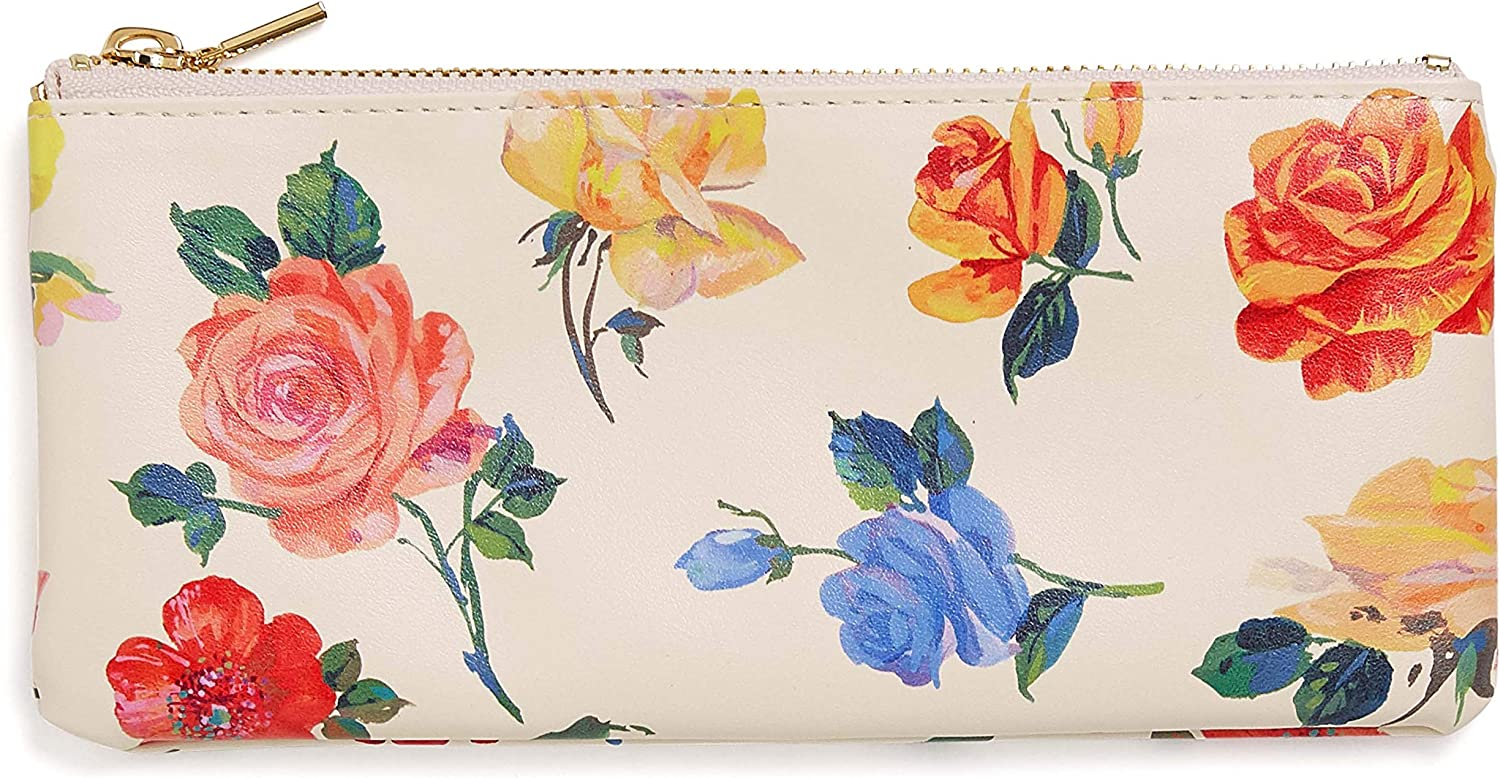 ban.do Women's Get it Together Leatherette Pencil Pouch with Zip Close, Coming Up Roses