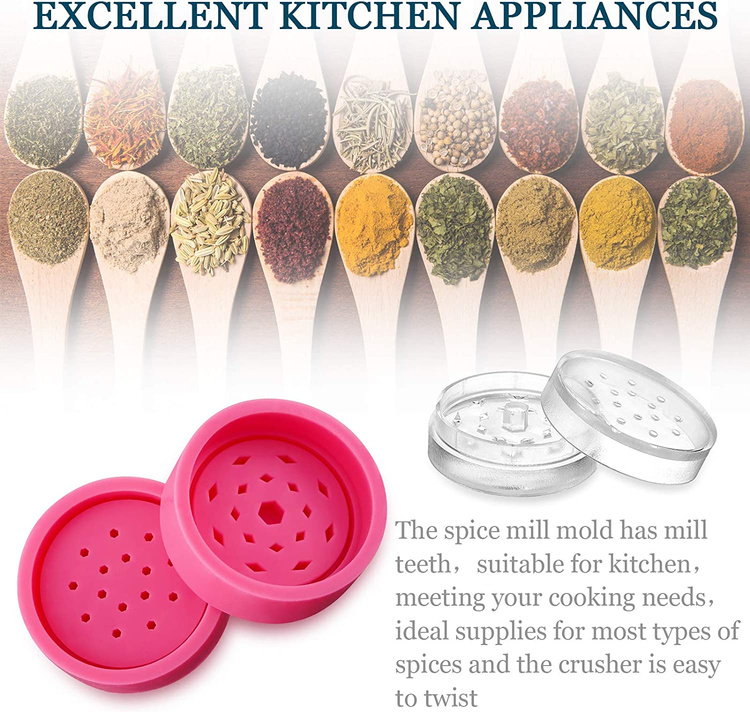4 Pieces Herb Grinder Mold with 2 Pieces Silicone Dropper Spice Epoxy Resin Mold Grinder Leaf Herb Spice Crusher Silicone Mould DIY Crafts Baking Tools for Making Candle Soap 2 Pairs