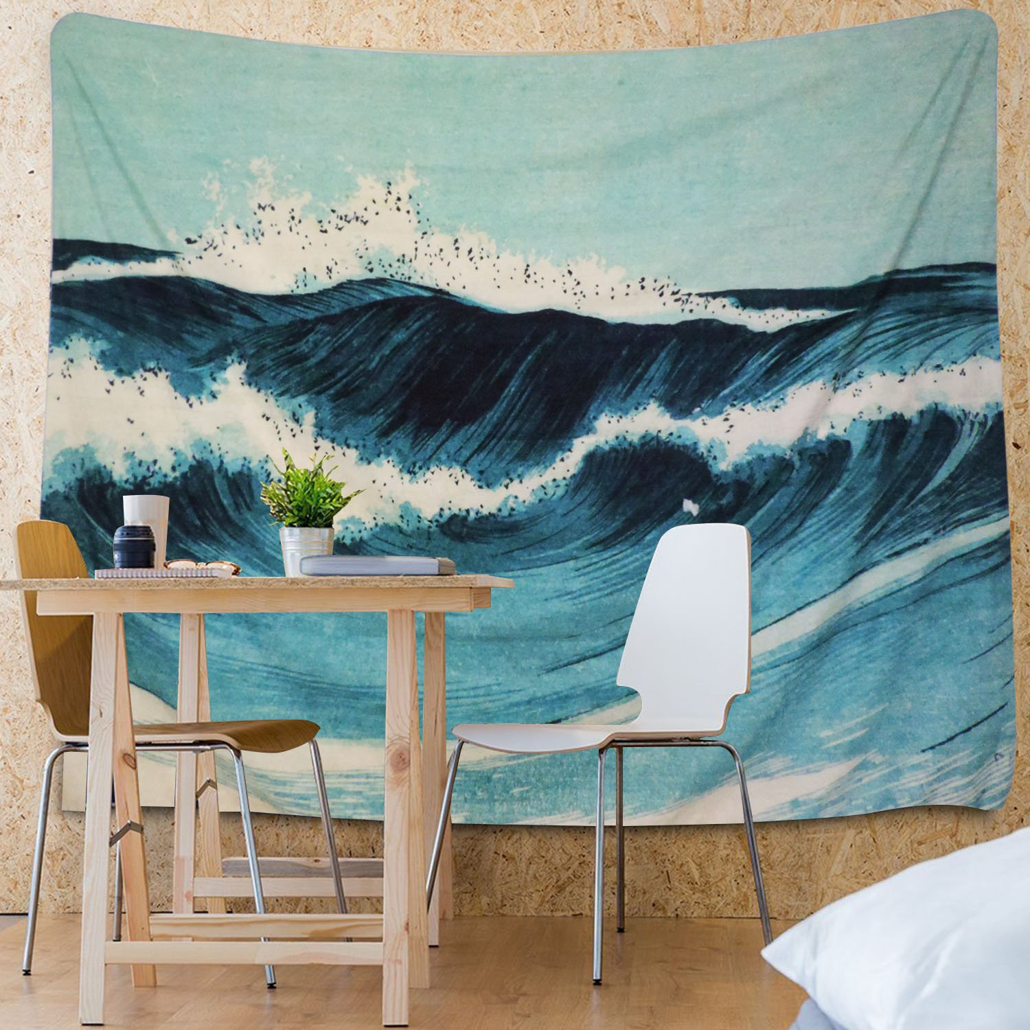 Martine Mall Tapestry Wall Tapestry Wall Hanging Tapestries Ocean Tapestry Wall Art Ocean Wave Decor Blue Indian Tapestry WallBlanketWallDecorWallArtHome Decor Wall Hanging Art 82 X 59 Inches