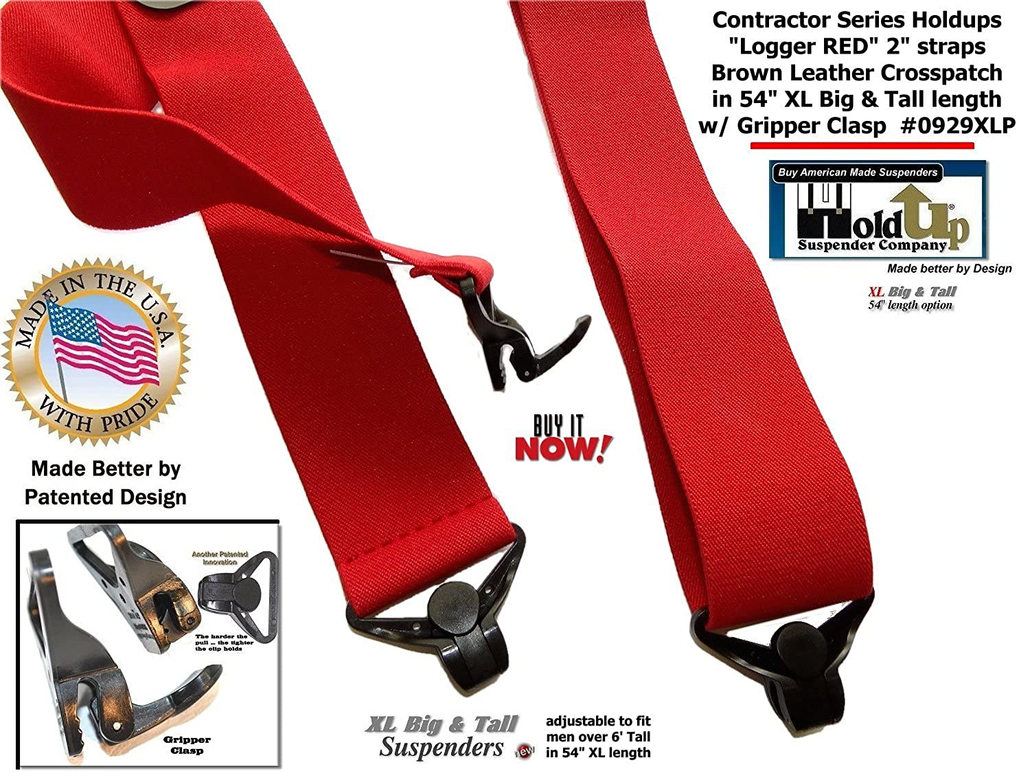 USA made Holdup Brand Extra Long XL Logger RED Suspenders with Patented Gripper Clasps Holdup Suspender Company Inc 0929XLP