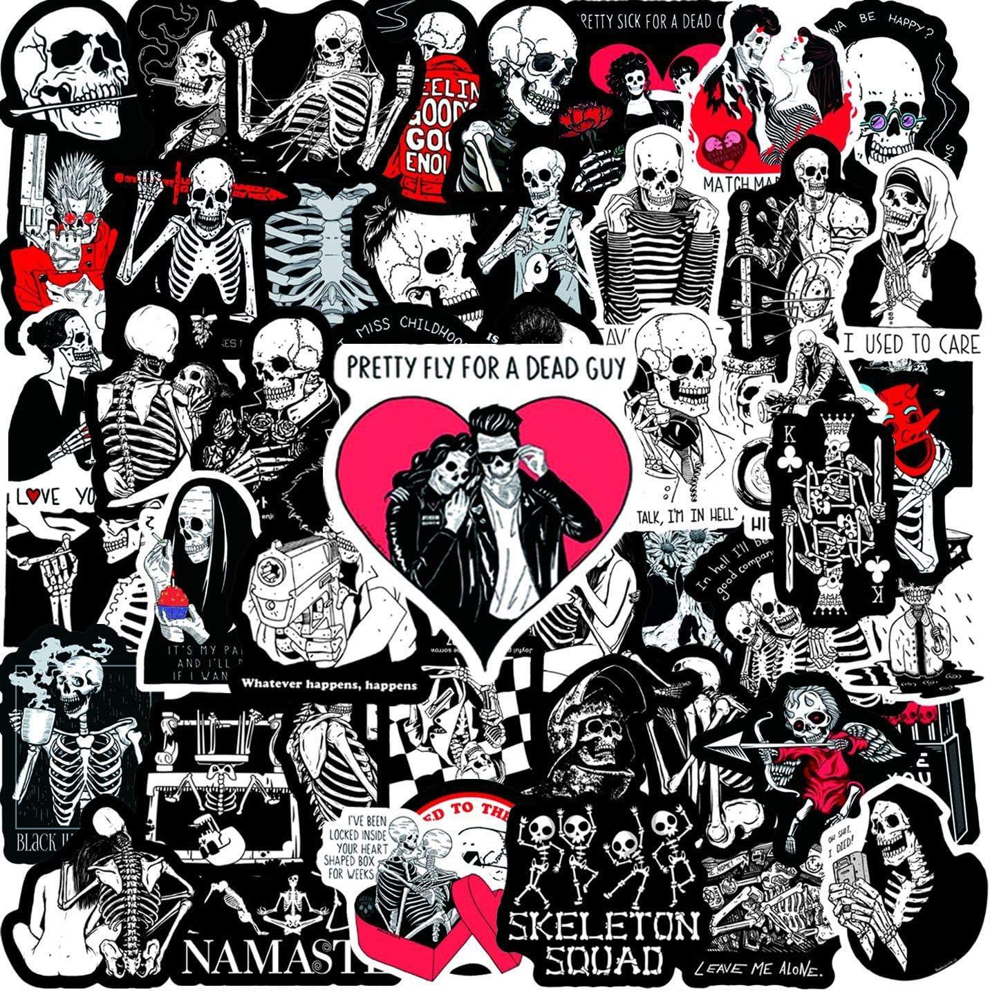 50 Pack Skull Love Stickers Water Bottles Laptop Car Hydroflasks Phone Guitar Skateboard Computer Vinyl Sticker Waterproof Red Black Sugar Skull Aesthetic Trendy Decal for Teens Boys Girls Adults