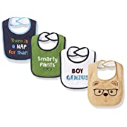 Luvable Friends Baby Drooler Bib, 4 Pack, Boy Genius, One Size