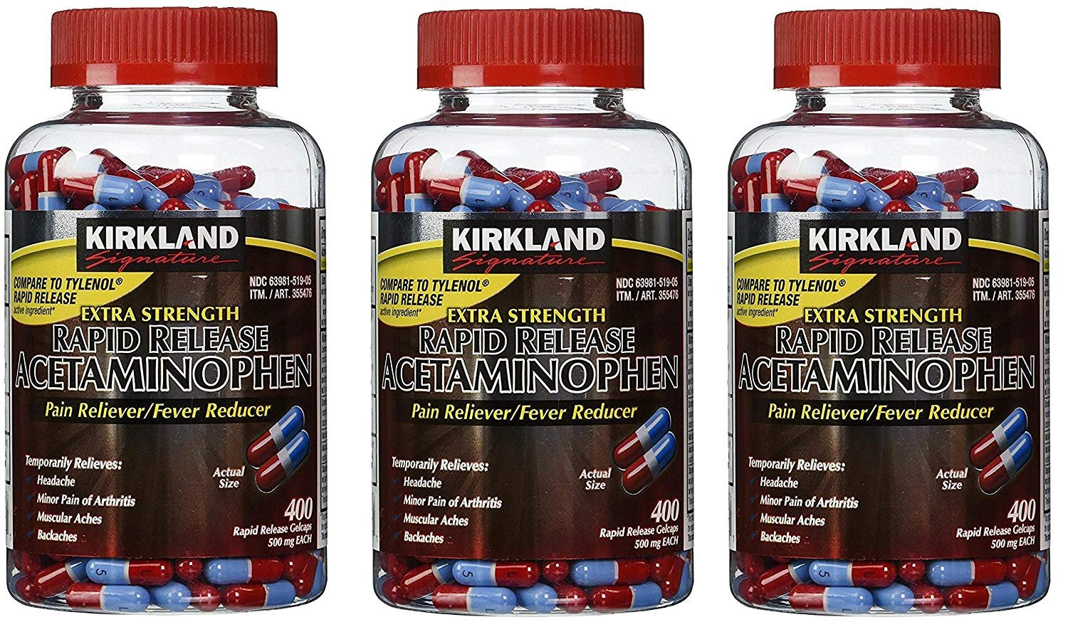 Kirkland Signature irlbGe Acetaminophen Extra Strength 500mg Rapid Release Gelcap, 400 Count (3 Pack) by Kirkland Signature