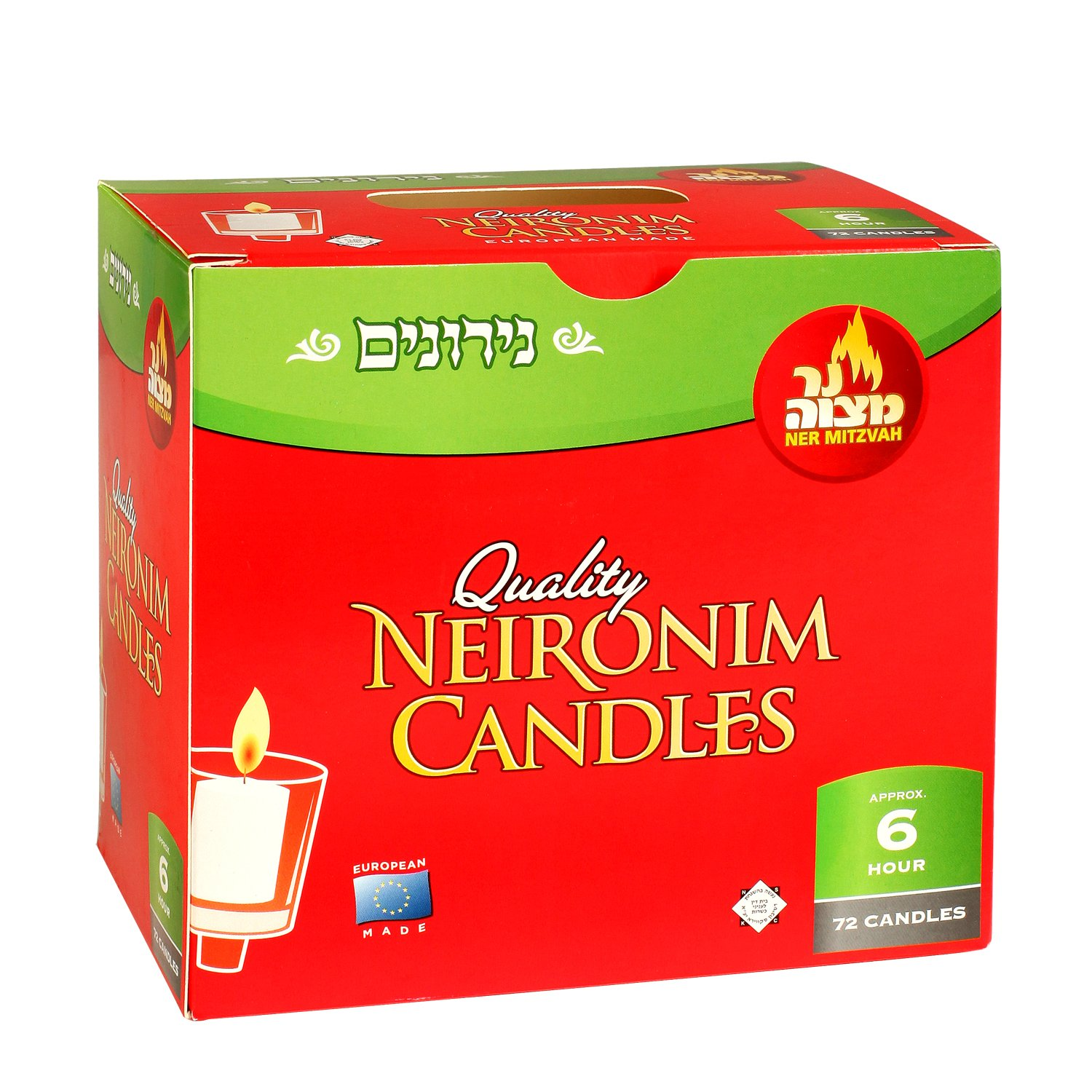 3 Hour Neironim Candles by Ner Mitzvah Shabbat and Votive Wax Candle 24 Count