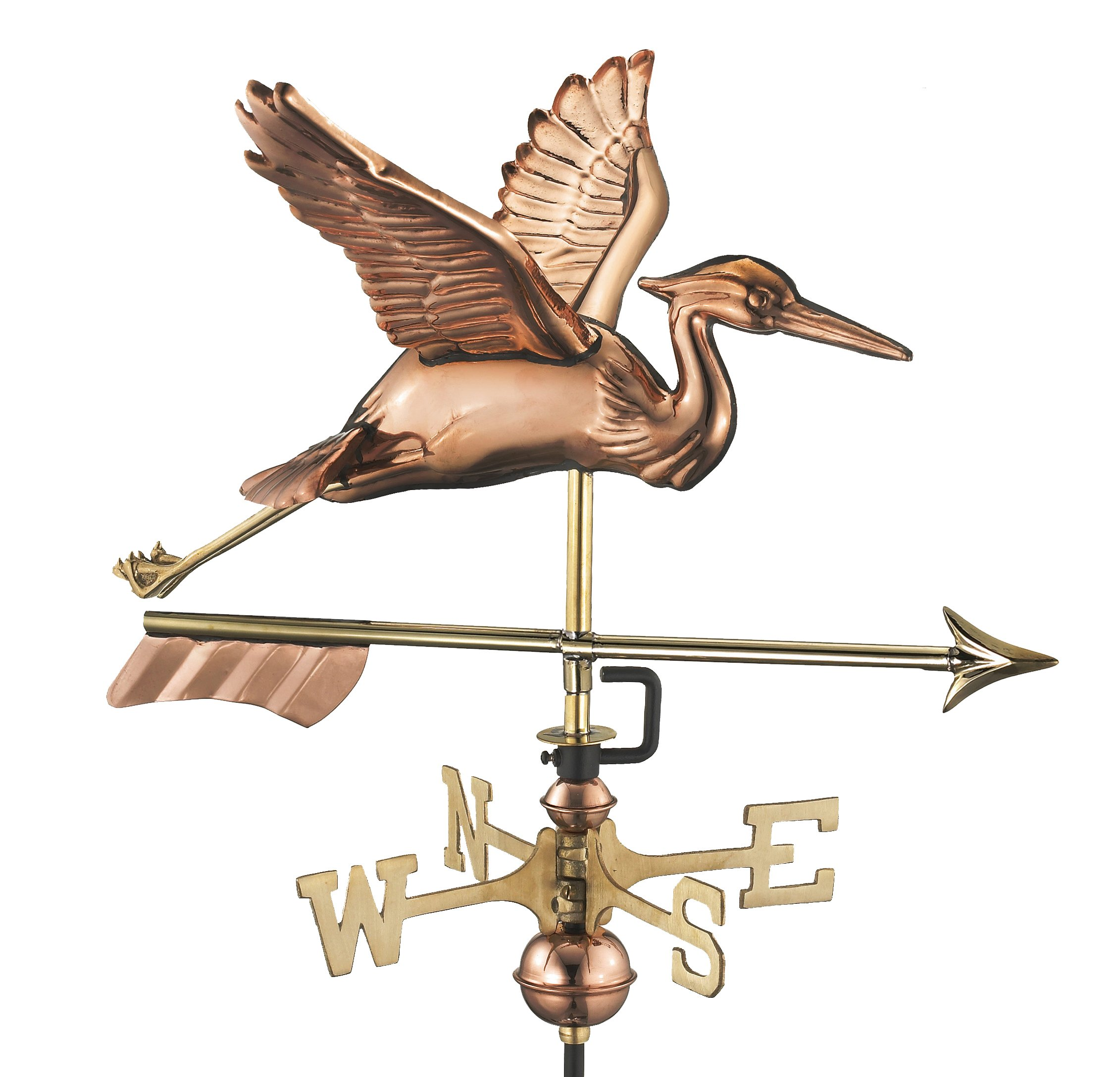 Good Directions Blue Heron with Arrow Garden Weathervane - Pure Copper with Garden Pole by Good Directions