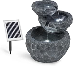 Blumfeldt Murach, Solar Cascade Fountain , Garden Fountain , LED Lighting , 2kW Solar Panel , 2000mAh Battery, Indoor & Outdoor, Polyresin, Grey