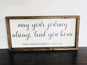 Flowershave357 Family Name Quote Sign May Your Journey Always Lead You Home Farmhouse Wood Est Date Sign Wedding New Home Gift