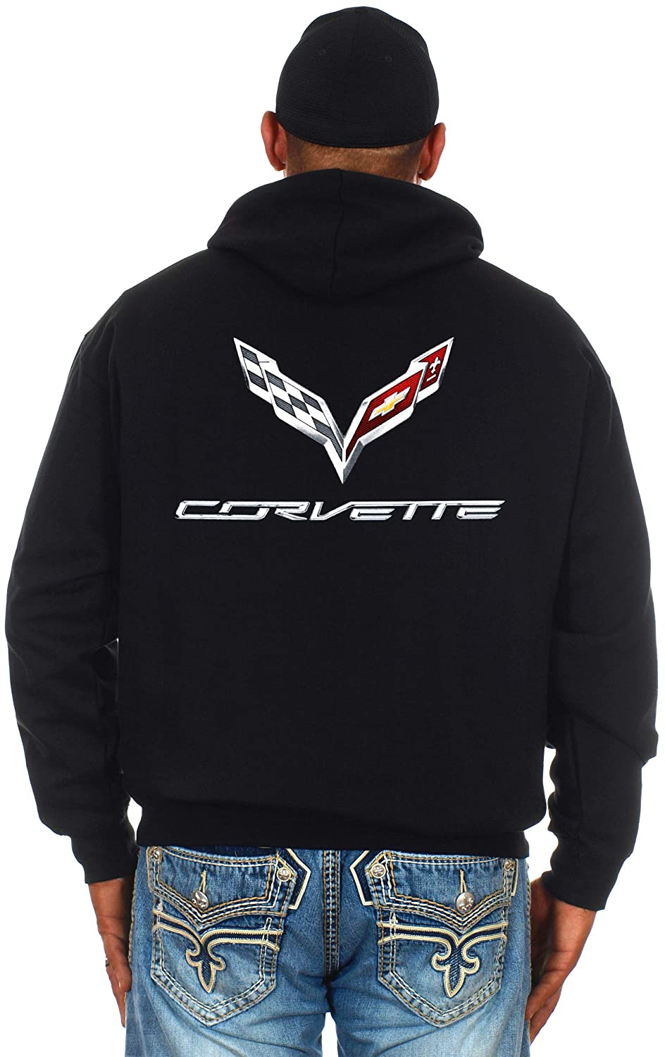 JH Design Chevy Corvette C7 Zip-up Hoodie /& Corvette T-Shirt Combo Gift Set for Men