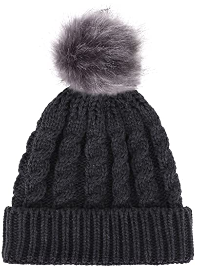c3d595dfe Livingston Women's Winter Soft Knitted Beanie Hat with Faux Fur Pom Pom