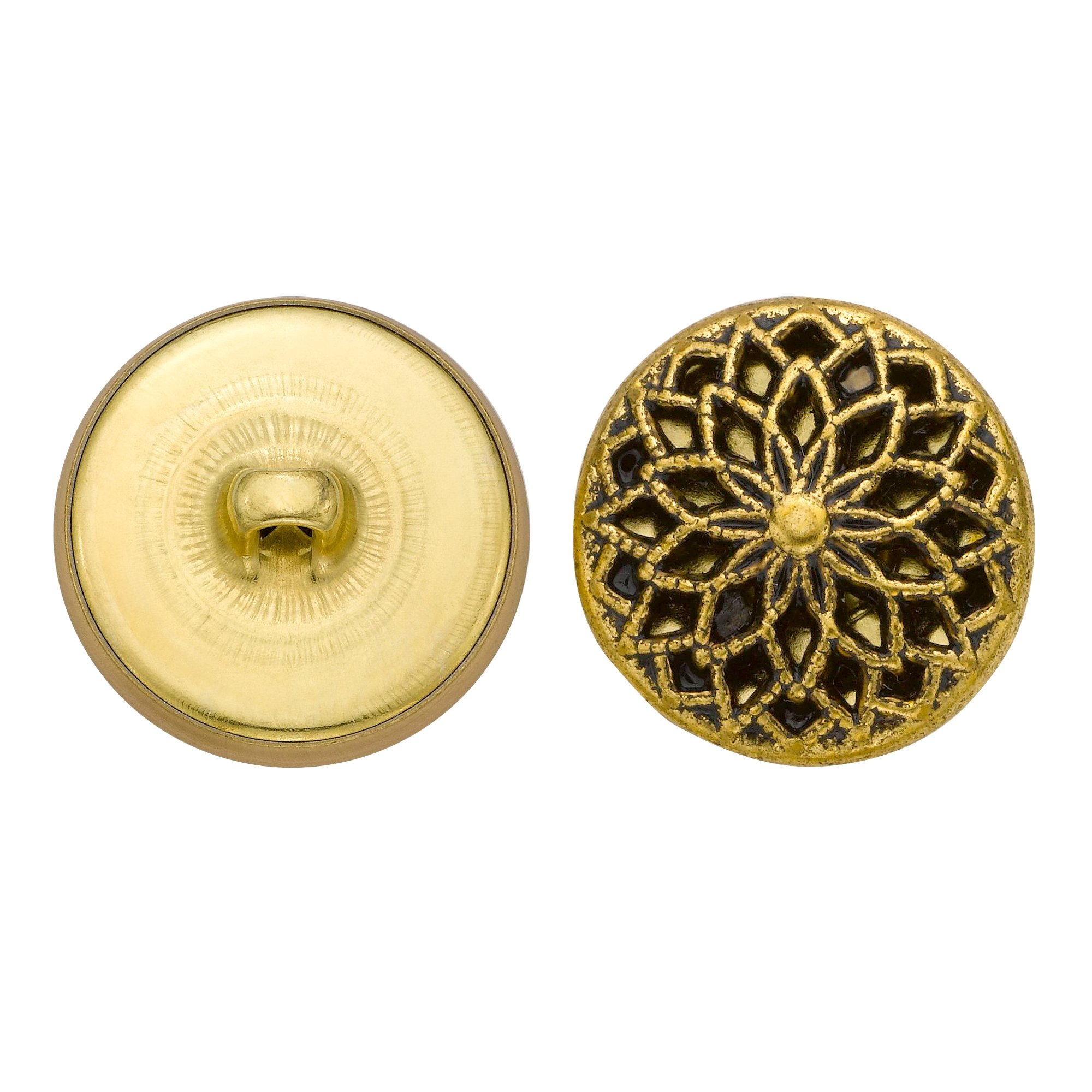 C&C Metal Products 5353 Filigree Metal Button, Size 36 Ligne, Antique Gold, 36-Pack