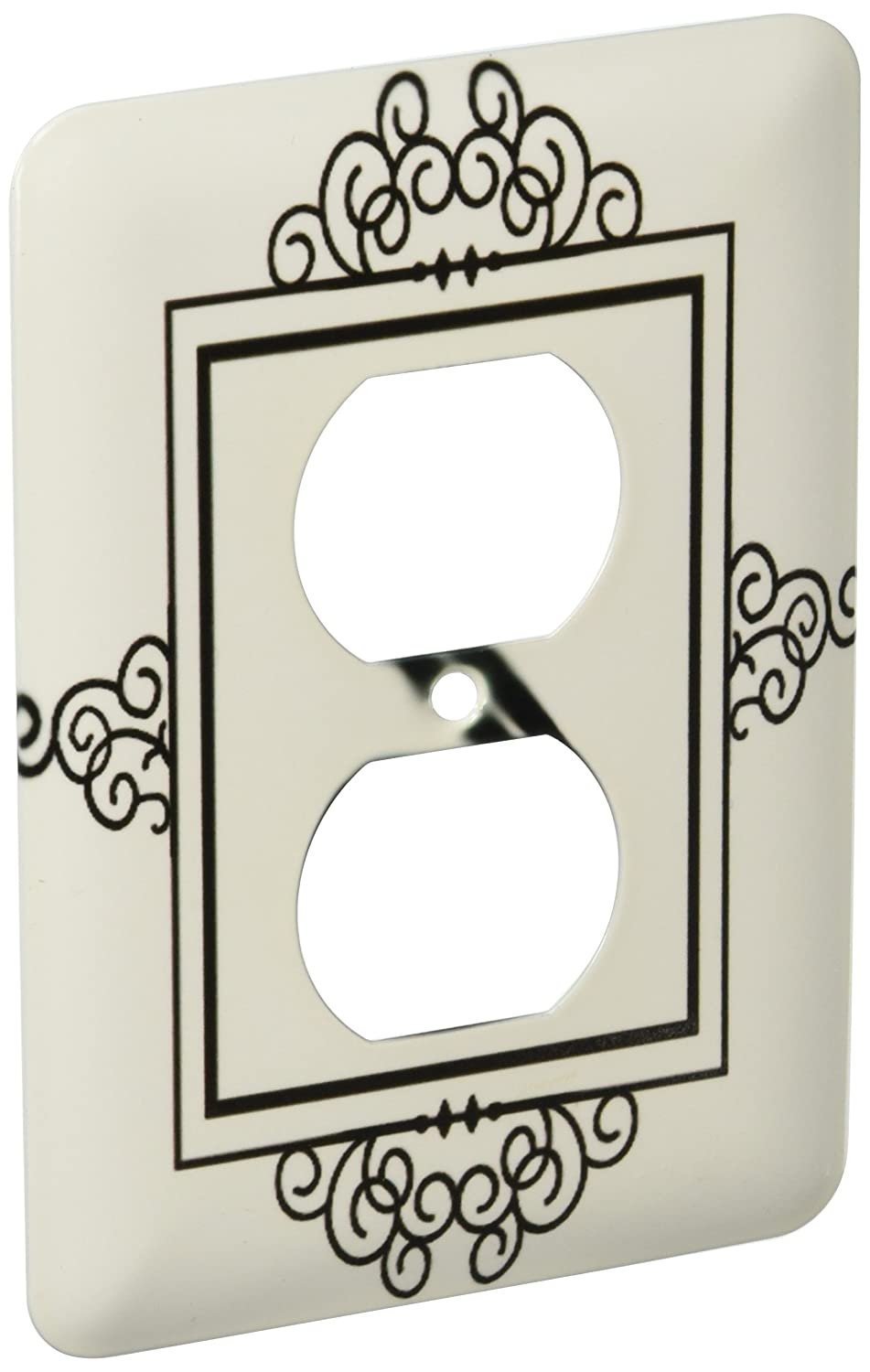 3dRose lsp/_154342/_6 Initial Letter S Personal Monogrammed Fancy Black and White Typography Elegant Stylish Personalized 2 Plug Outlet Cover