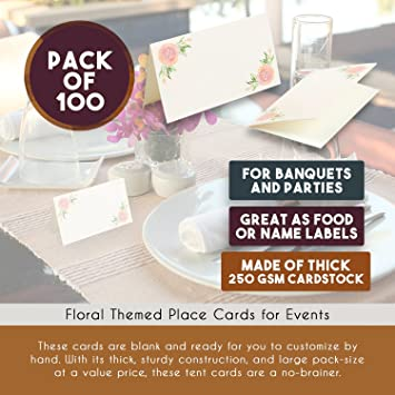amazoncom rose gold table place cards 100 piece floral tent cards table decorations and party supplies for romantic wedding banquets bridal shower - Table Place Cards