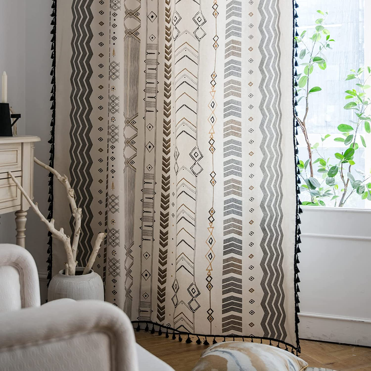 Amazon Com Lahome Boho Living Room Curtains 84 Inch Length 2 Panels Set Tribal Tassel Farmhouse Cotton Linen Curtain Drapes Rod Pocket Semi Blackout Country Style Window Treatment For Bedroom Dining Kitchen Kitchen