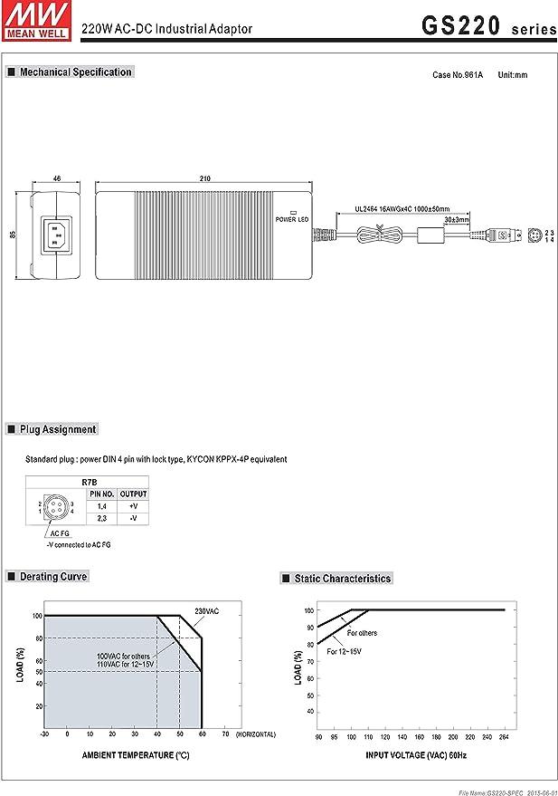 MW Mean Well GS220A15-R7B 15V 13.4A 200W AC-DC Green Industrial Adaptor