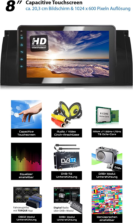 XOMAX XM-39BA Autoradio avec Android 8.1 appropri/é pour BMW 32GB ROM I Navigation GPS I Support WiFi Dab+ WLAN 3G 8Core OBD2 I Bluetooth I /Écran Tactile 8 I USB 2GB RAM 4G