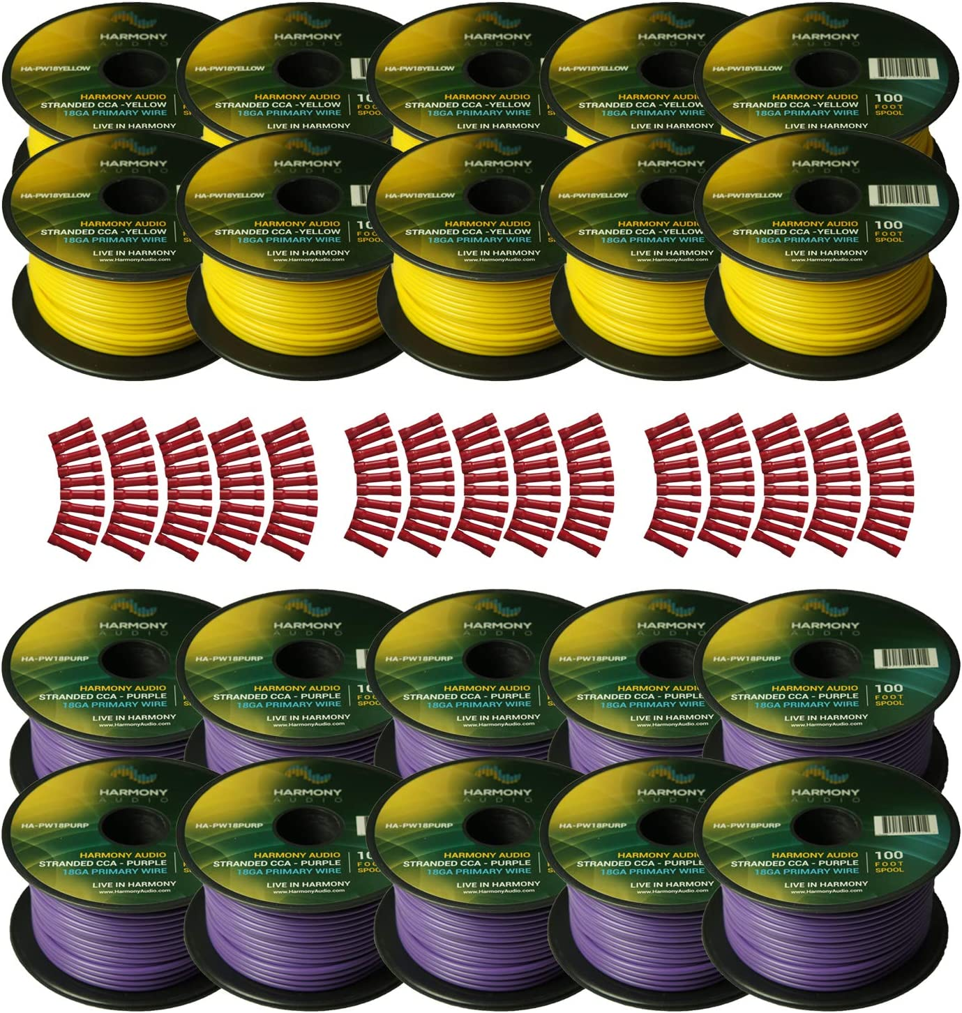 Harmony Audio Primary Single Conductor 18 Gauge Power or Ground Wire - 20 Rolls - 2000 Feet - Yellow & Purple for Car Audio/Trailer/Model Train/Remote 81OIZ1tkVXLSL1500_