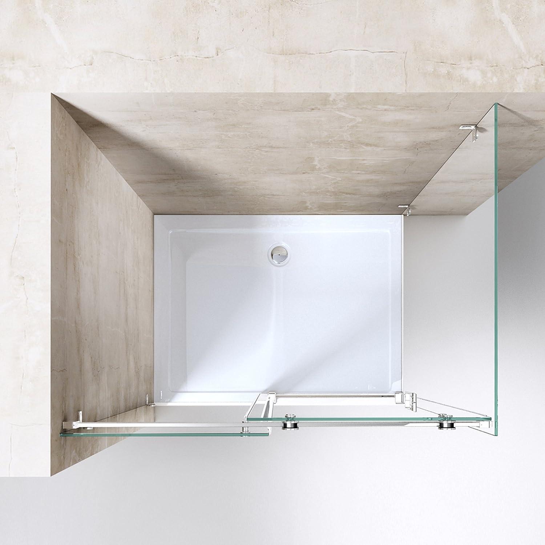 Mai /& Mai Cabine de douche 75x115 avec porte de douche coulissante verre tremp/é ESG transparent RAV17-2