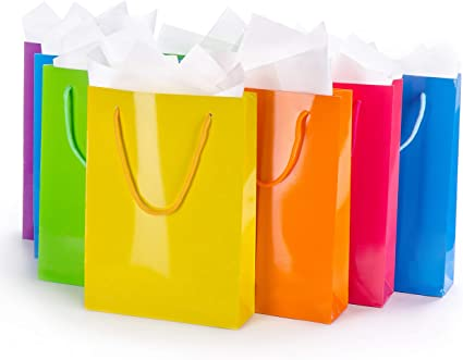 Amazon Com Assorted Gift Bags With Tissue Paper 12 Pack Medium Colorful Reusable Totes Birthday Party Wedding Xmas Baby Shower Holiday Use Men Women Kids Health Personal Care