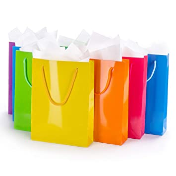 Assorted Gift Bags With Tissue Paper 12 Pack Medium Colorful Reusable Totes