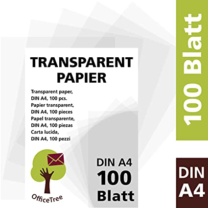 OfficeTree 100 Sheets Transparent Tracing Paper DIN A4 Gsm Premium Quality White