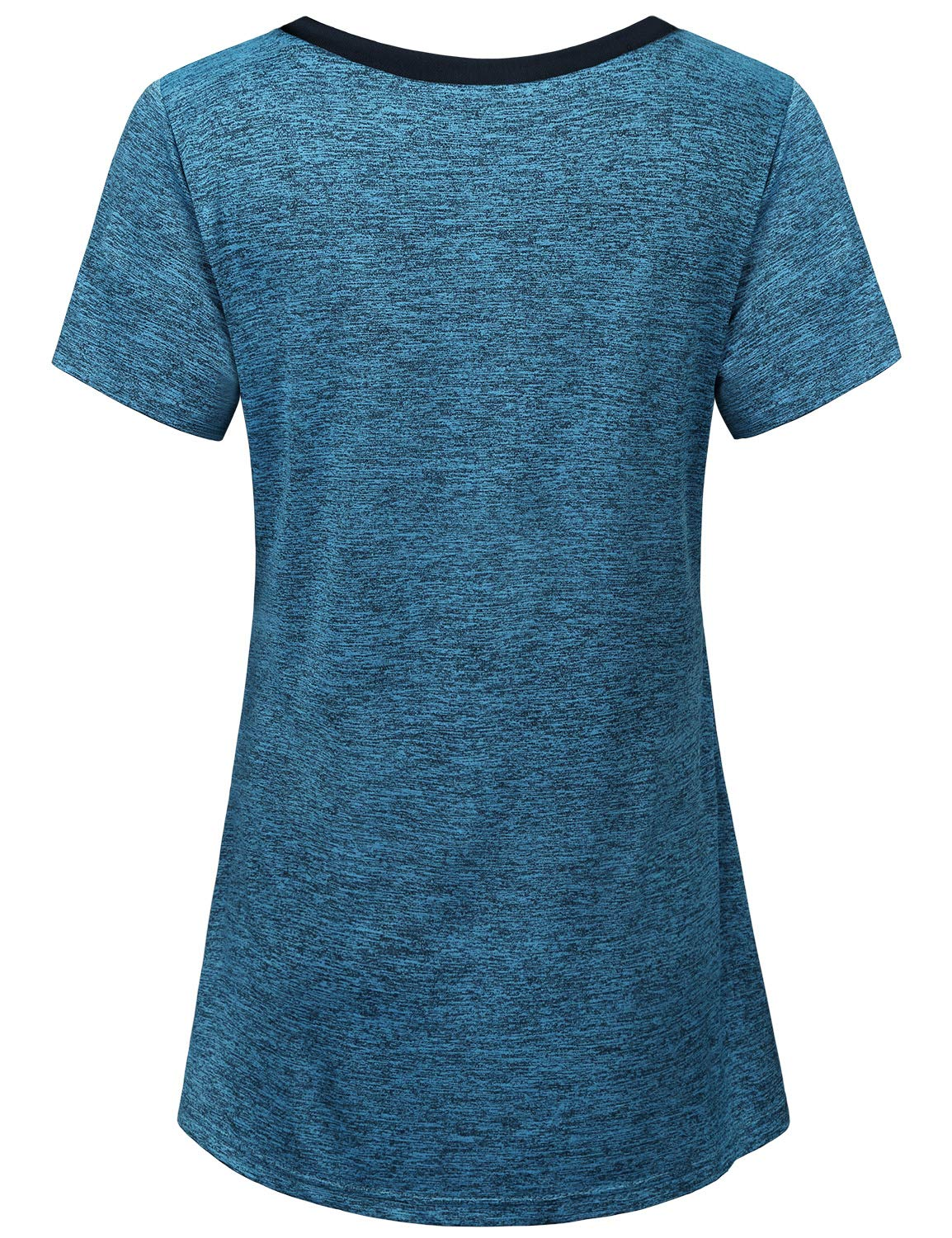 Miusey Tops for Women, Juniors Yoga Tops Sport Appreal Crew Neck Flowy Curved Hem Loose Fit Flattering Exercise Training Thin Large Cute T Shirts Blue L by Miusey (Image #2)