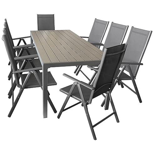 Sitzgarnitur Sitzgruppe Gartengarnitur Gartenmöbel Terrassenmöbel Set  9 Teilig   Gartentisch, Aluminium, Polywood