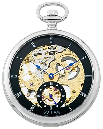 amazon gothamメンズシルバートーン17 jewel mechanical skeleton