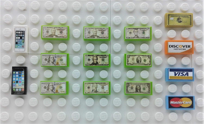 Lego Custom Smart Phones(2) Cash Dollar Play Money (9) Credit Card (2) Minifigure/Bank Accessory