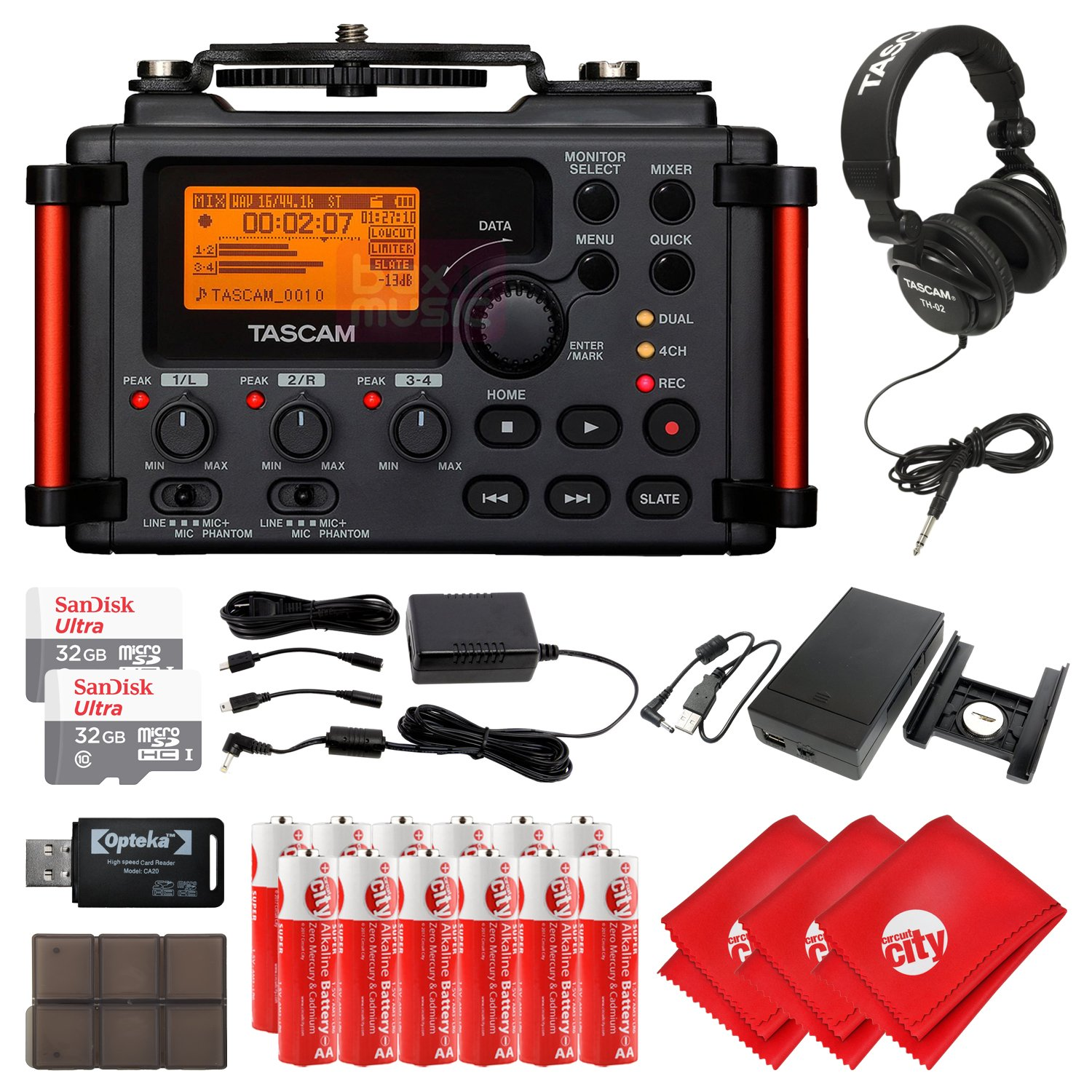 TASCAM 4-Channel Portable Audio Recorder for DSLR Filmmakers, Headphones, 2 pcs 32GB Micro SD Card, 12 pcs AA Batteries, 3 pcs Microfiber Cleaning Cloth and Accessory Bundle, Black (DR-60DmkII)