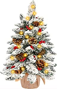 TURNMEON Tabletop Christmas Tree with 50 Lights, Snow Flocked Pre-lit Mini Small Christmas Tree Battery Operated Warm White Light 45 Red Berry 7 Pine Cones Burlap Base Xmas Decor (24 inch)