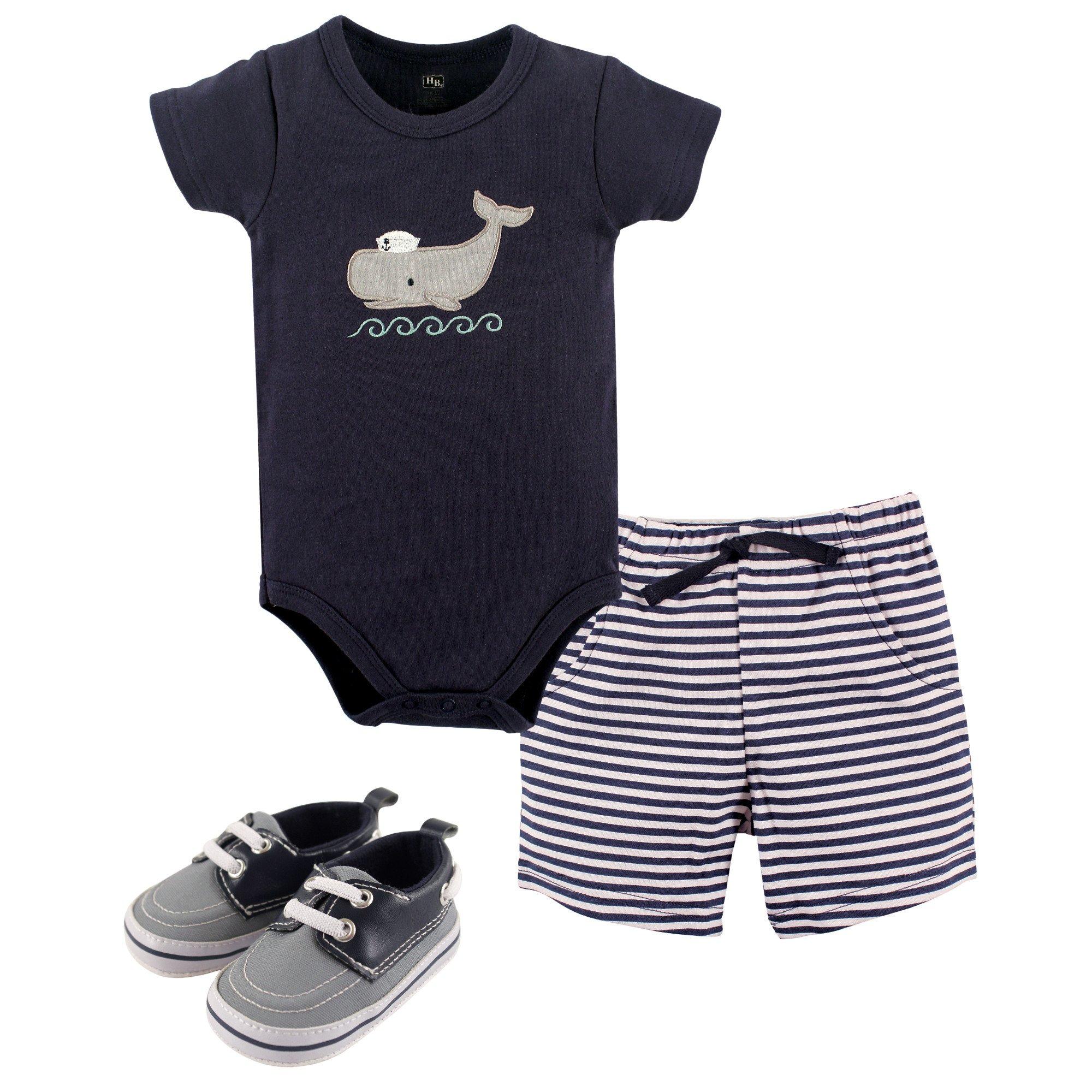 Hudson Baby Cotton Bodysuit, Bottoms and Shoe Set, Sailor Whale, 6-9 Months
