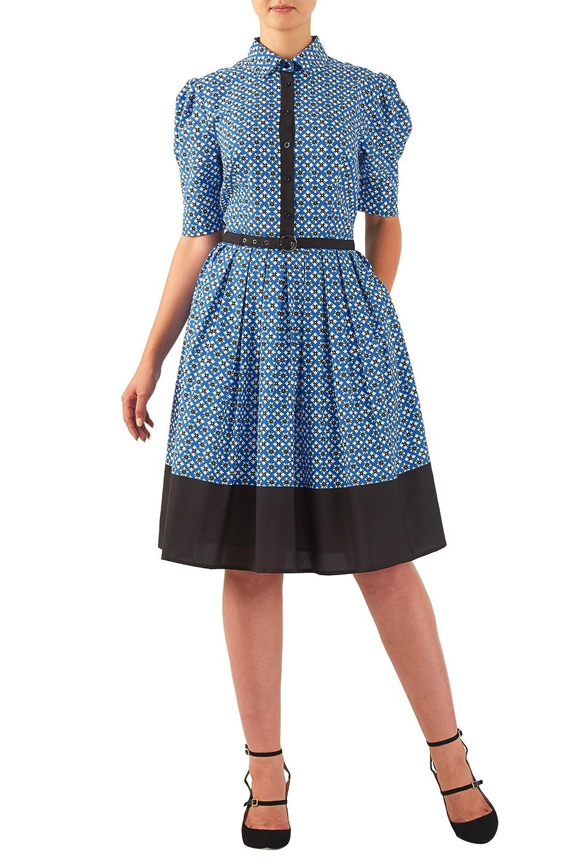 1940s Style Dresses and Clothing eShakti Womens Tile print crepe contrast belted shirtdress $65.95 AT vintagedancer.com