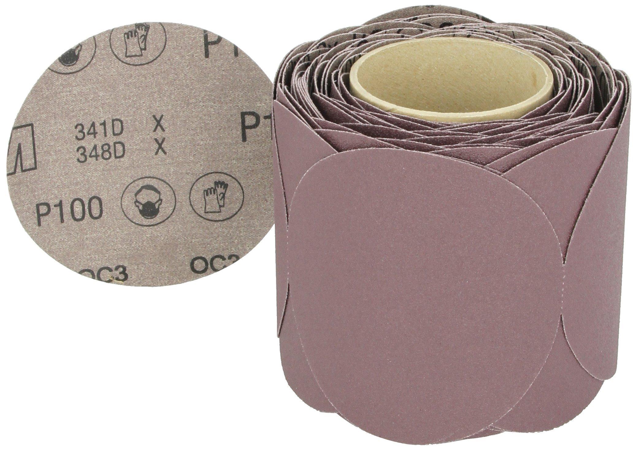 3M Stikit Cloth Disc Roll 341D, PSA Attachment, Aluminum Oxide, 5'' Diameter, P100 Grit (Roll of 100)