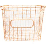 Contemporary Industrial Style Wire Storage Basket - Hand-Made Multi-Purpose Office Kitchen Organizer Holder Bin