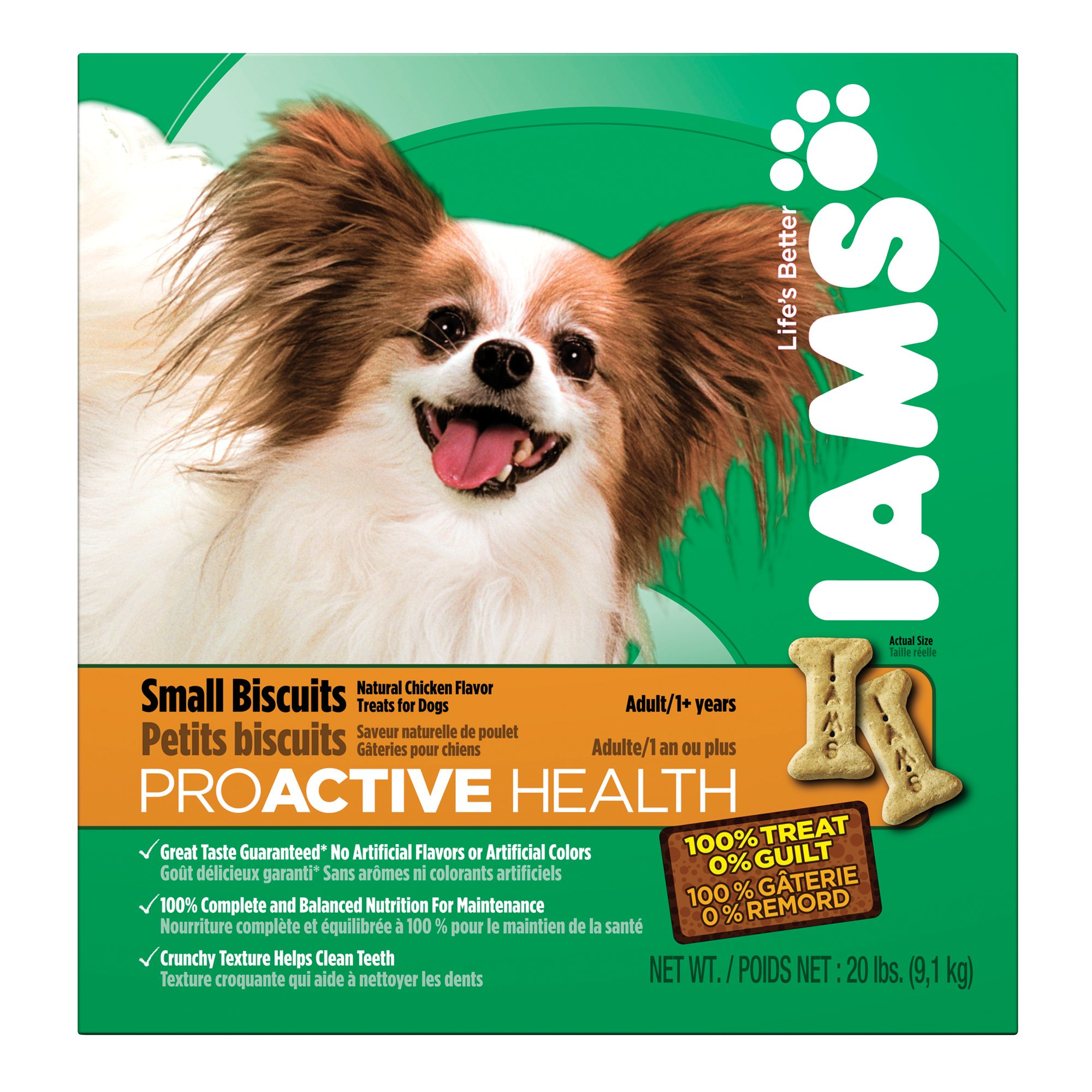 IAMS PROACTIVE HEALTH Adult Small Dog Biscuits Natural Chicken Flavor 20 Pounds