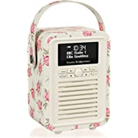 VQ Retro Mini DAB & DAB+ Digital Radio with FM, Bluetooth & Alarm Clock - Emma Bridgewater Rose and Bee