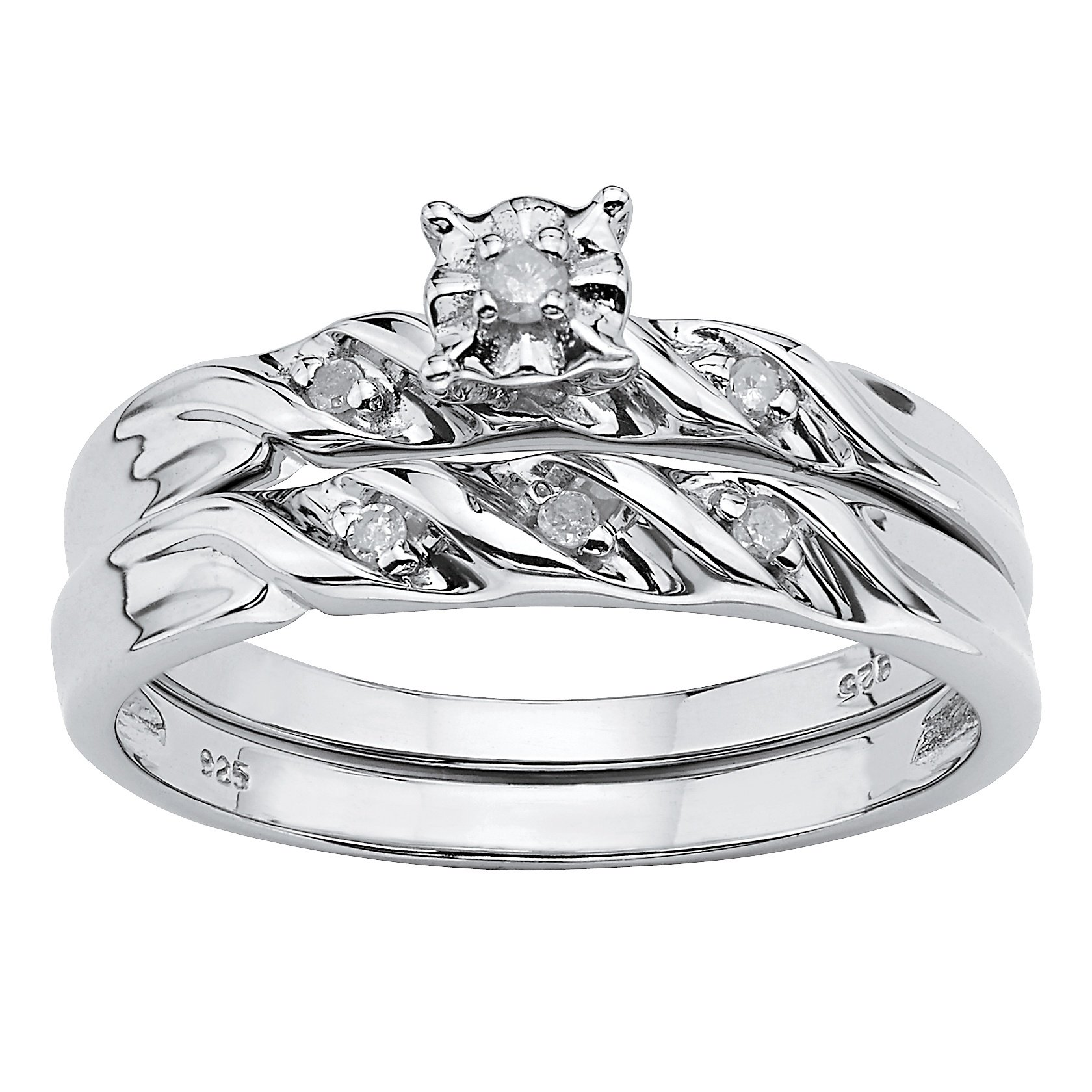 White Diamond Accent Platinum over .925 Sterling Silver 2-Piece Bridal Set Size 5
