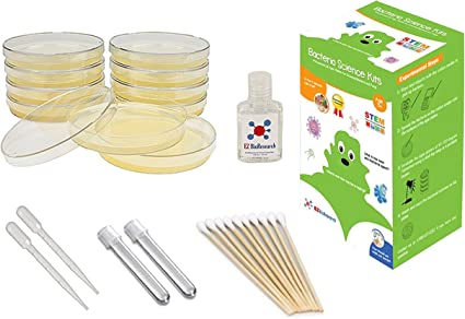 Prepoured Agar Plates and Cotton Swabs EZ BioResearch Bacteria Science Kit IV