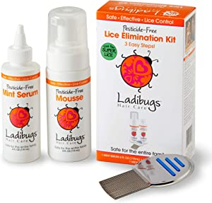 Ladibugs One and Done Lice Treatment Kit - 3-Step Elimination - Comb, Mousse, Serum | Natural & Effective Head Lice & Nit Remover | Safe Removal for Kids, Family | Clinic Preferred, Nurse Approved